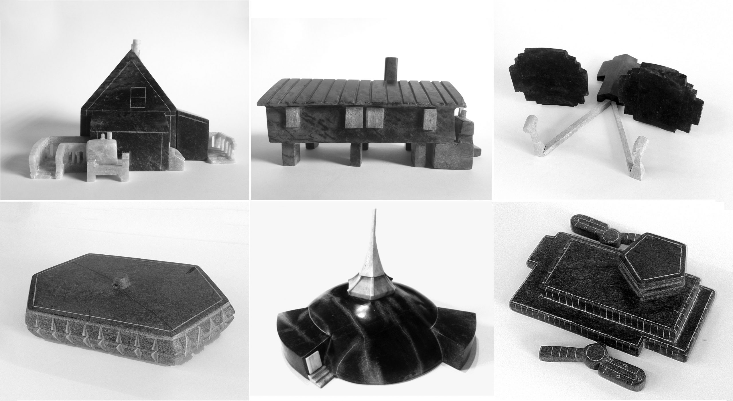 Photo credit: A series of 12 soapstone carvings by Inuit artists document key Nunavut buildings and typologies from the 20th century; courtesy Lateral Office.