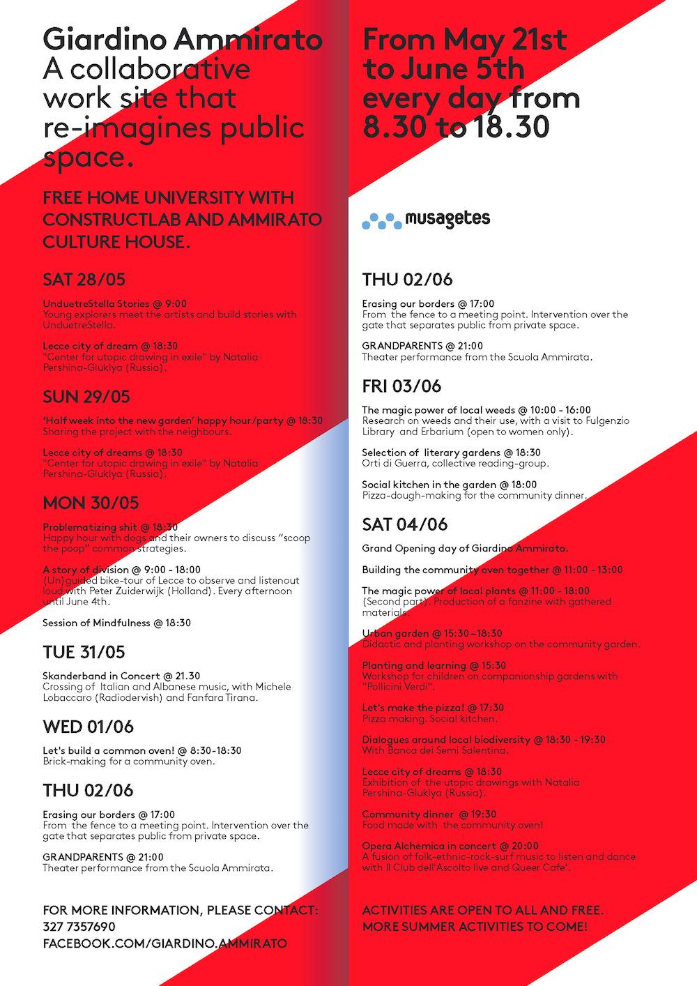 5 Giardino Ammirato Schedule May 28-June 6, 2016