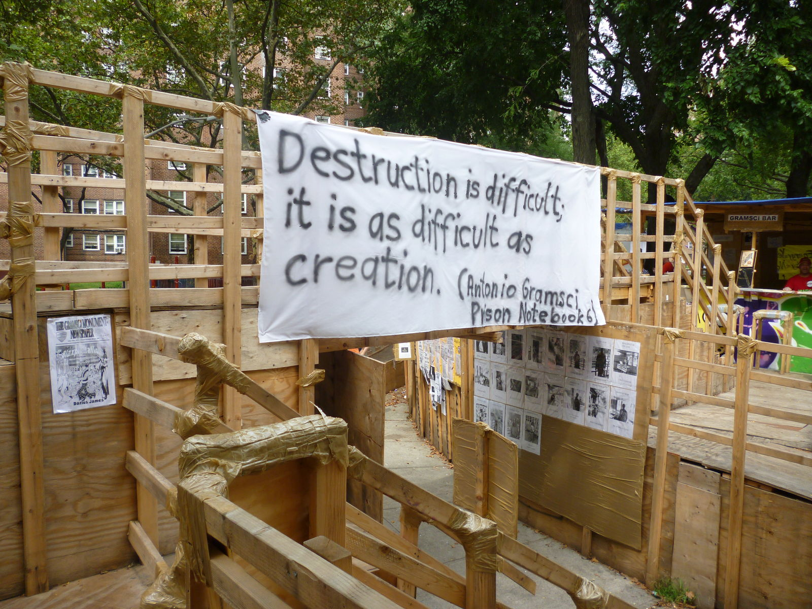 Detail view, Hirschhorn's Gramsci Monument at the Forest Homes, Bronx, NY, 2013