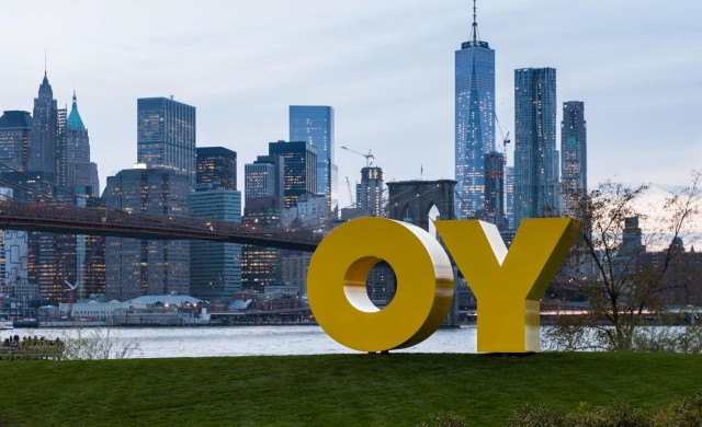 """Deborah Kass, """"OY/YO."""" The piece reads """"YO"""" when seen from Manhattan and """"OY"""" when viewed from Brooklyn. Of all the word art floating around Brooklyn right now, this is our favorite."""