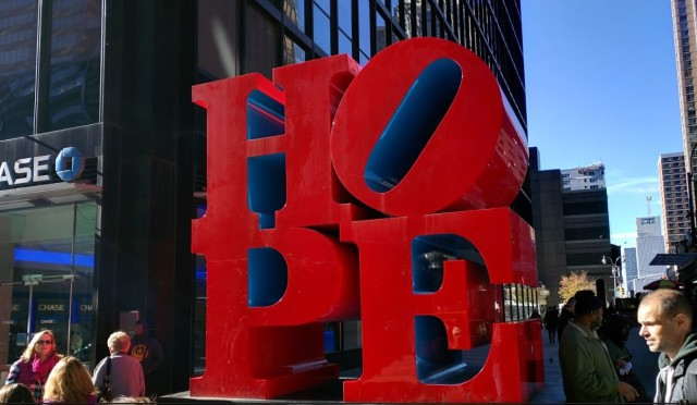 """Robert Indiana, """"Hope"""" at 53rd St. and 7th Ave."""