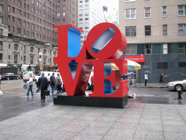 """Robert Indiana, """"LOVE"""" on Avenue of the Americas and 55th St."""