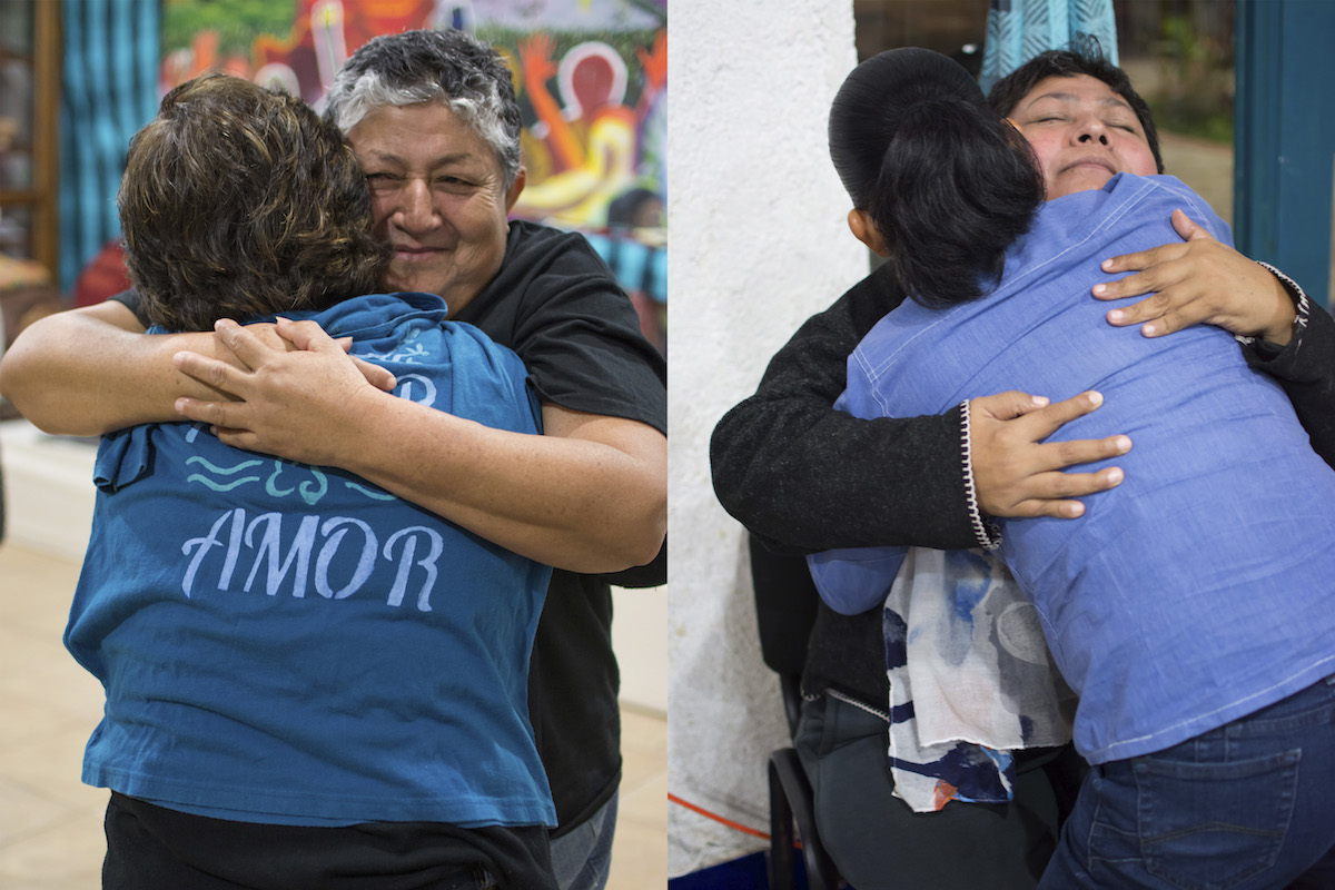 Two photos of two different people embracing