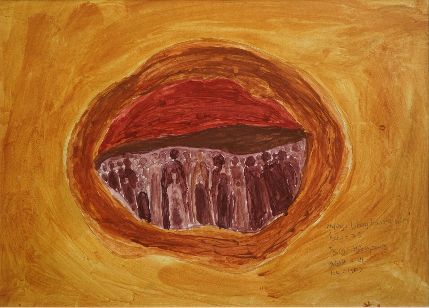 people surrounded by earthen hole