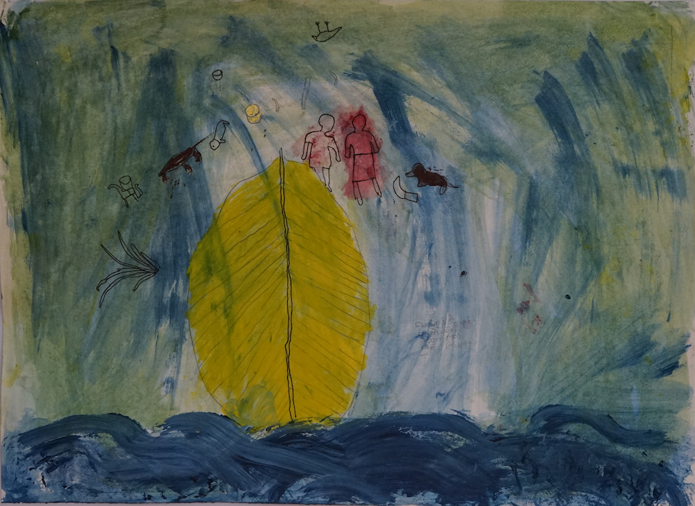painting of falling into water with family's belongings