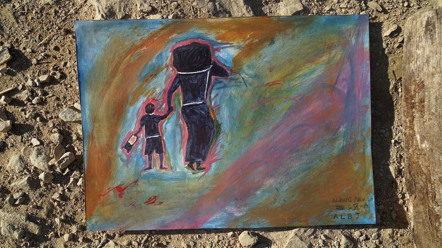 parent and child painted from behind