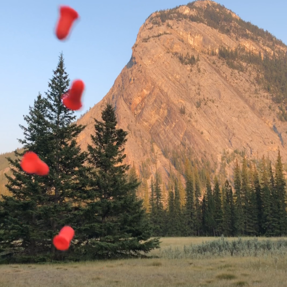 Aislinn Thomas. Earplug toss, 2018. . Image description: Four bright orange and blurry earplugs are suspended in mid-air on the right of the frame in front of a backdrop of a mountain glowing with warm magic hour light.