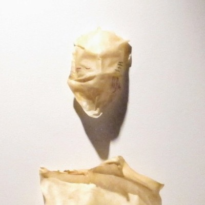 Detail of an art piece by Maanii Oakes. A piece of hide is molded into the form of a human face.