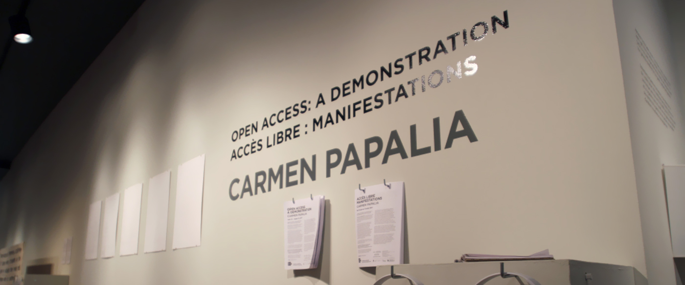 A gallery view of Carmen Papalia's exhibit titled Open Access