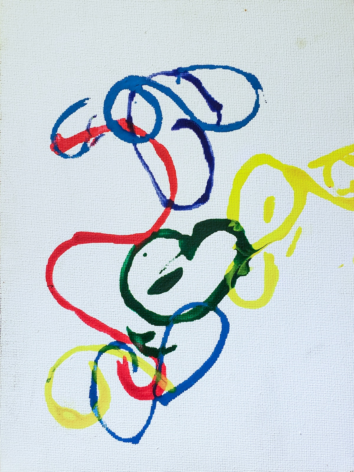 A painting on canvas featuring blue, red, yellow, and green curvy lines