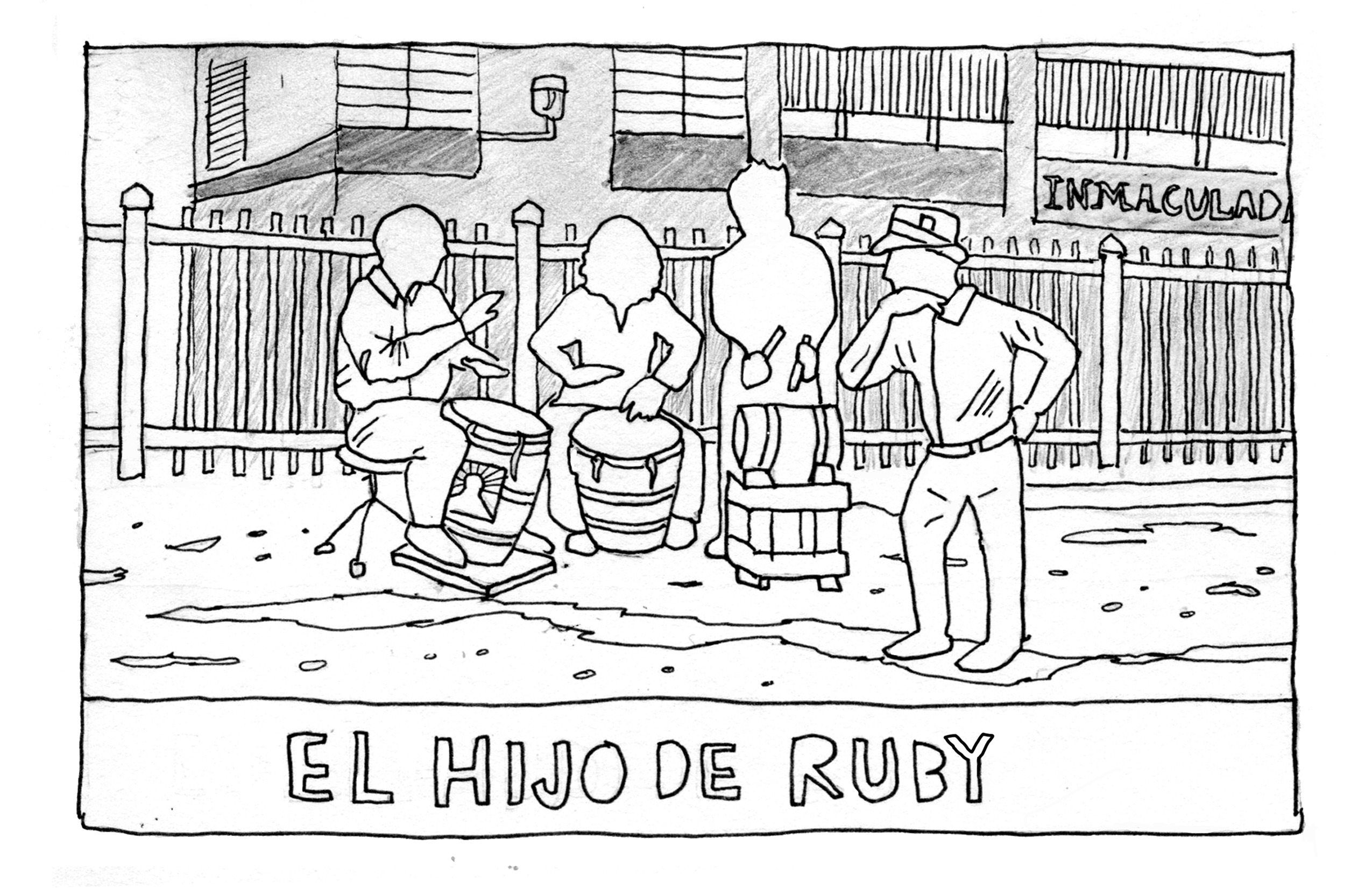 Drawing of a group of drummers