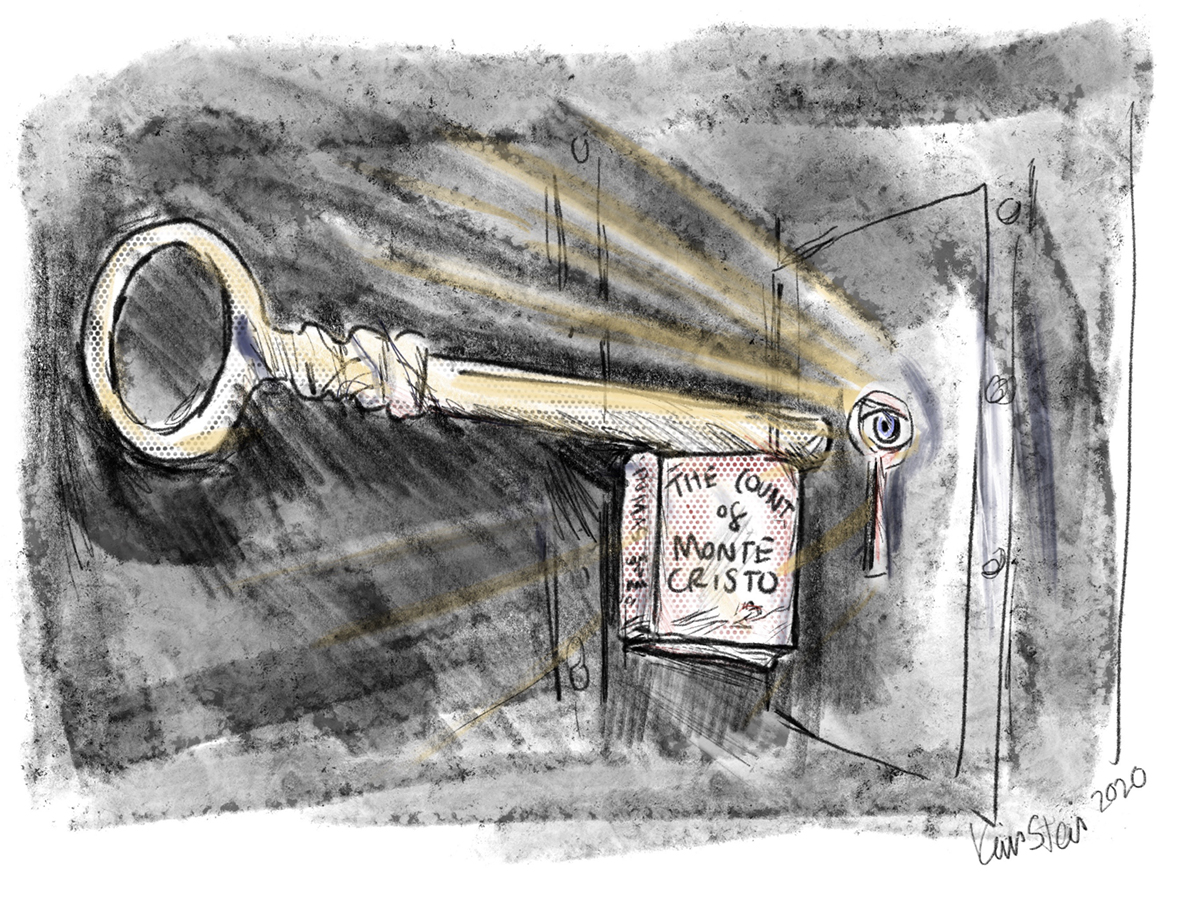 """A giant key with the book """"The Count of Monte Cristo"""" at its base enters the keyhole of a prison cell, while an eye looks through the hole"""