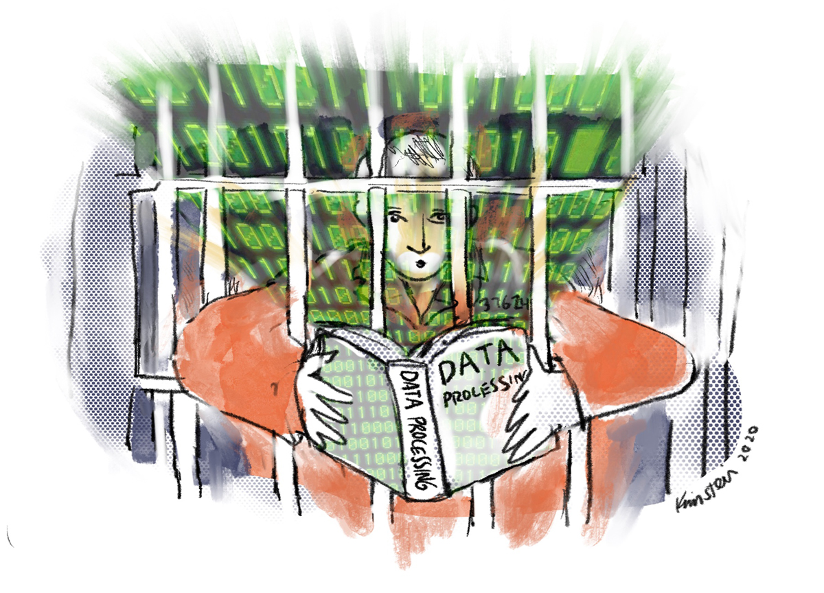 Illustration of a prison inmate reading a book on data processing through the bars