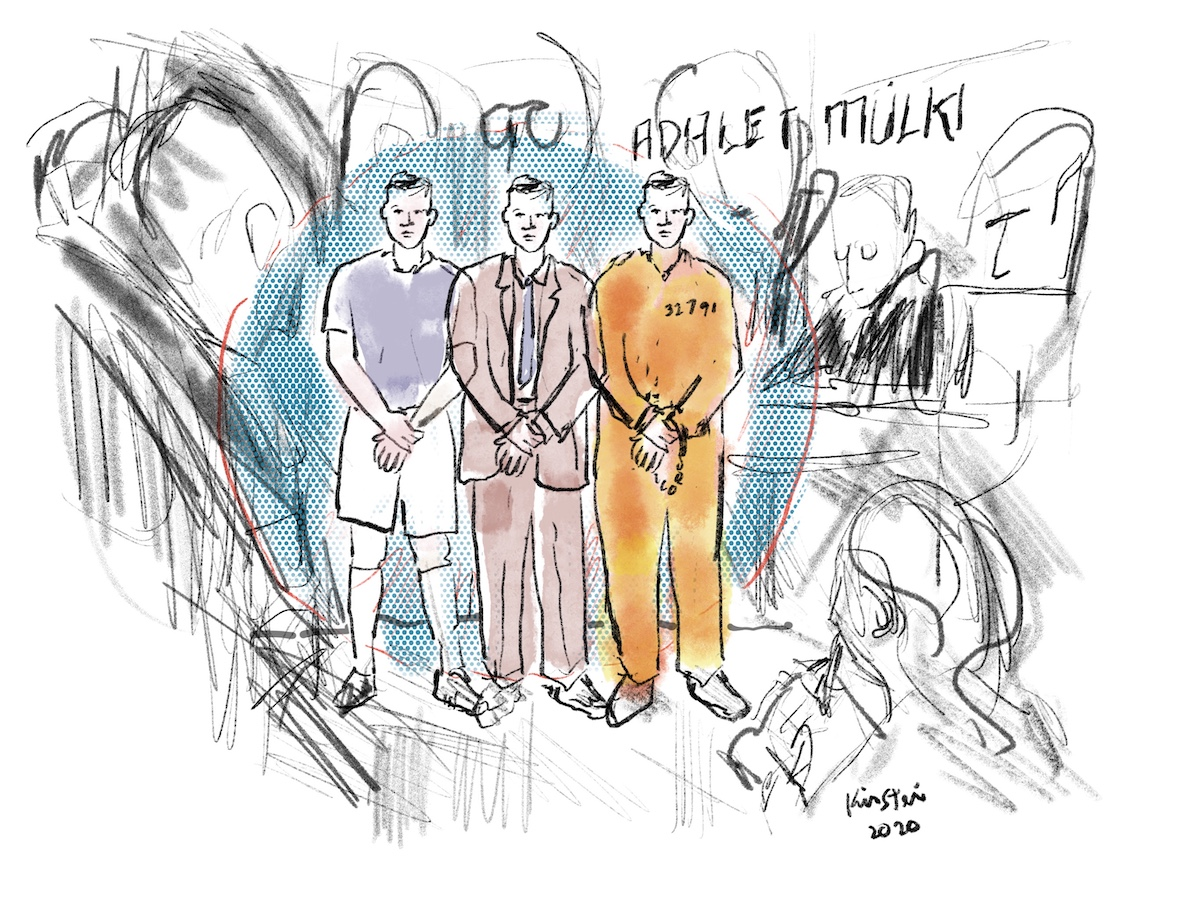 three sketches of the same man, one in plain clothes, one in a suit and tie, and one in handcuffs wearing prison coveralls