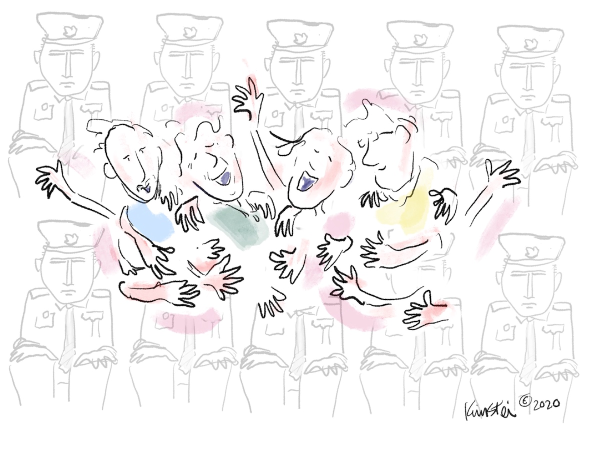 A sketch of 4 happy people embracing, surrounded by expressionless police.