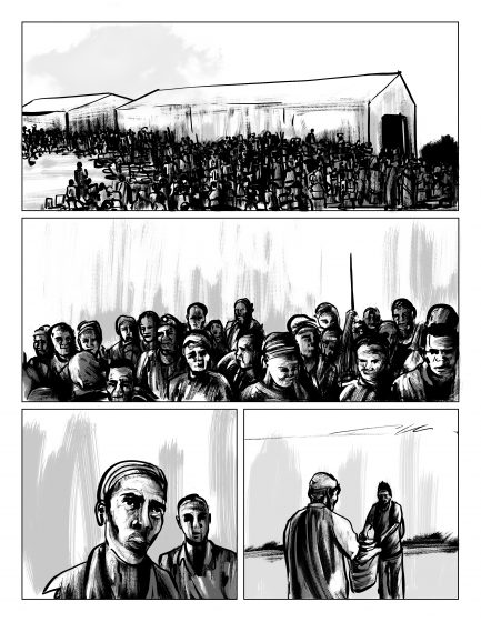 Refugee reception center, illustrated