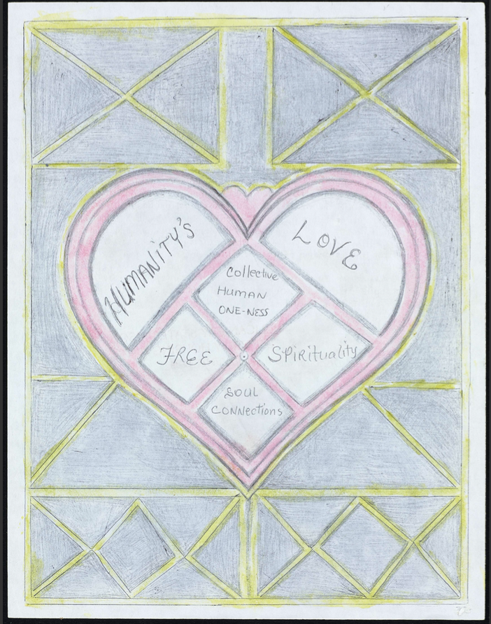 """Drawing resembling a stained glass window with text inside a heart that reads """"Humanitys love. Collective human one-ness. Free. Spirituality. Soul connections."""""""