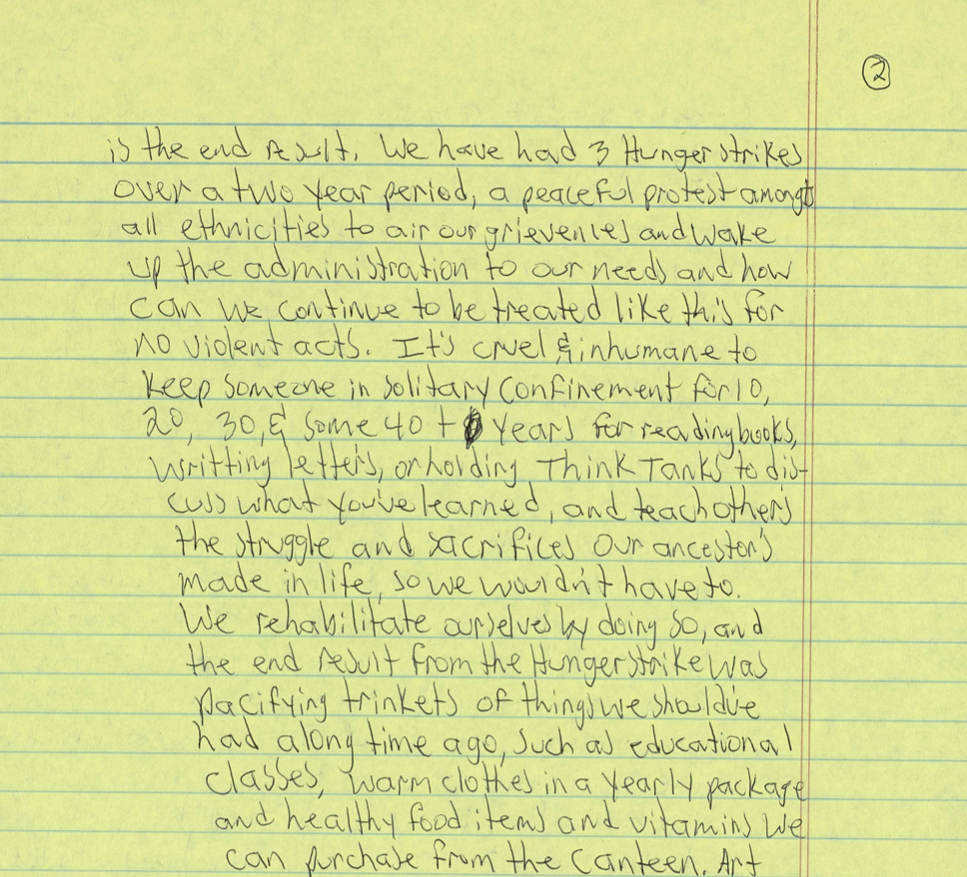 Excerpt from Ajamu Watu's prison writing