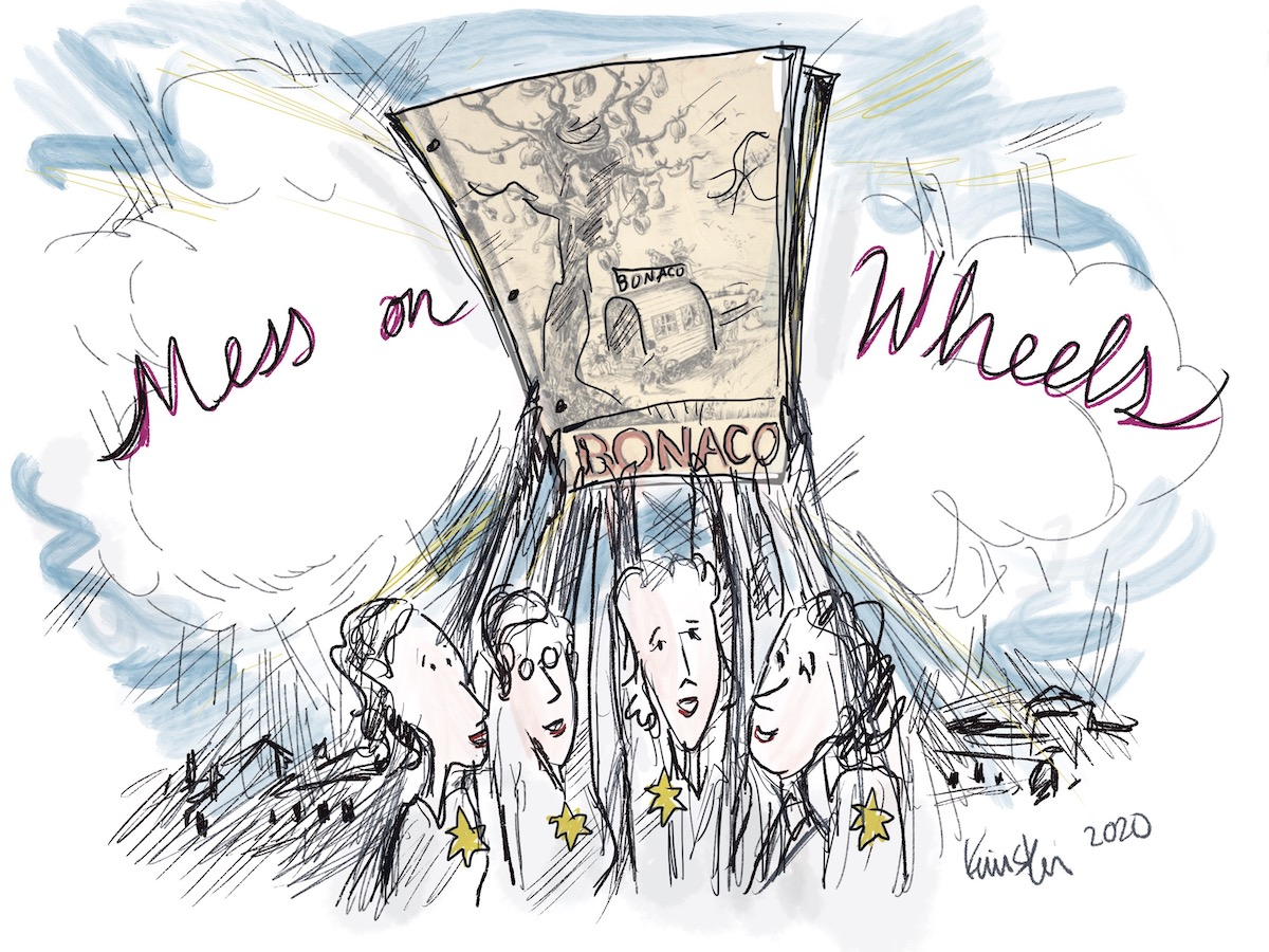 """Four young women hold up an issue of Bonaco. Text overhead reads """"Mess on Wheels"""""""