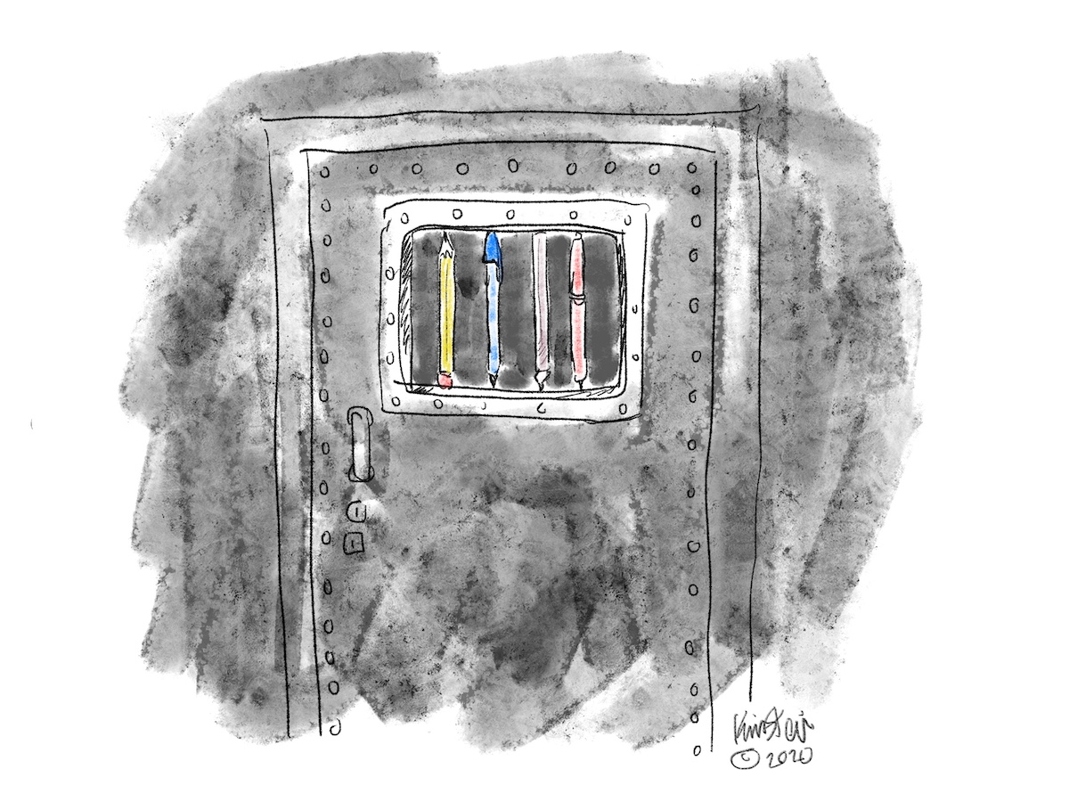Illustration of the door of a prison cell, with the bars replaced by writing utensils.