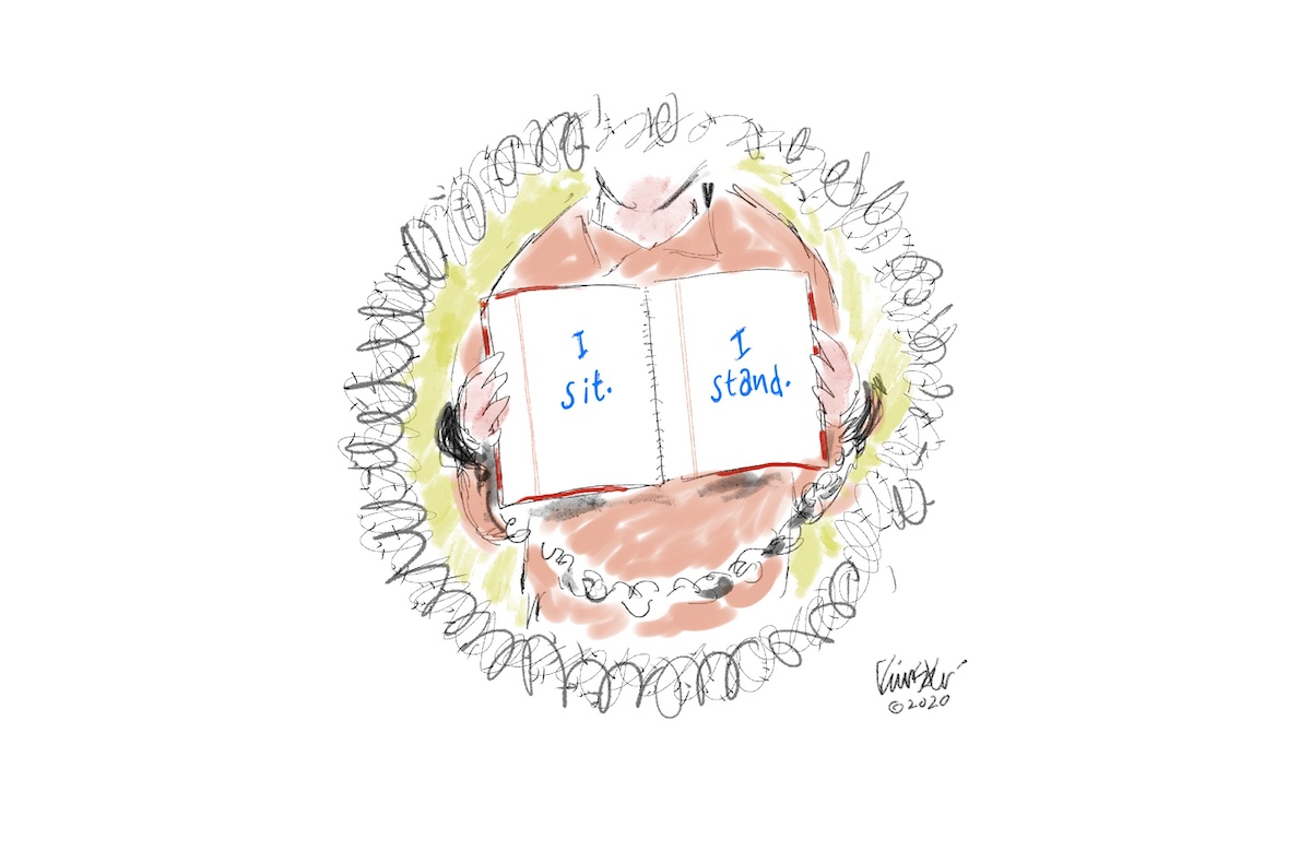 """Illustration of a prisoner surrounded by barbed wire holding up a book that reads: """"I sit. I stand."""""""
