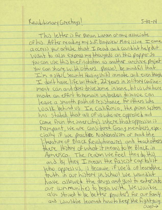 Excerpt from Ajamu Watus prison writing.