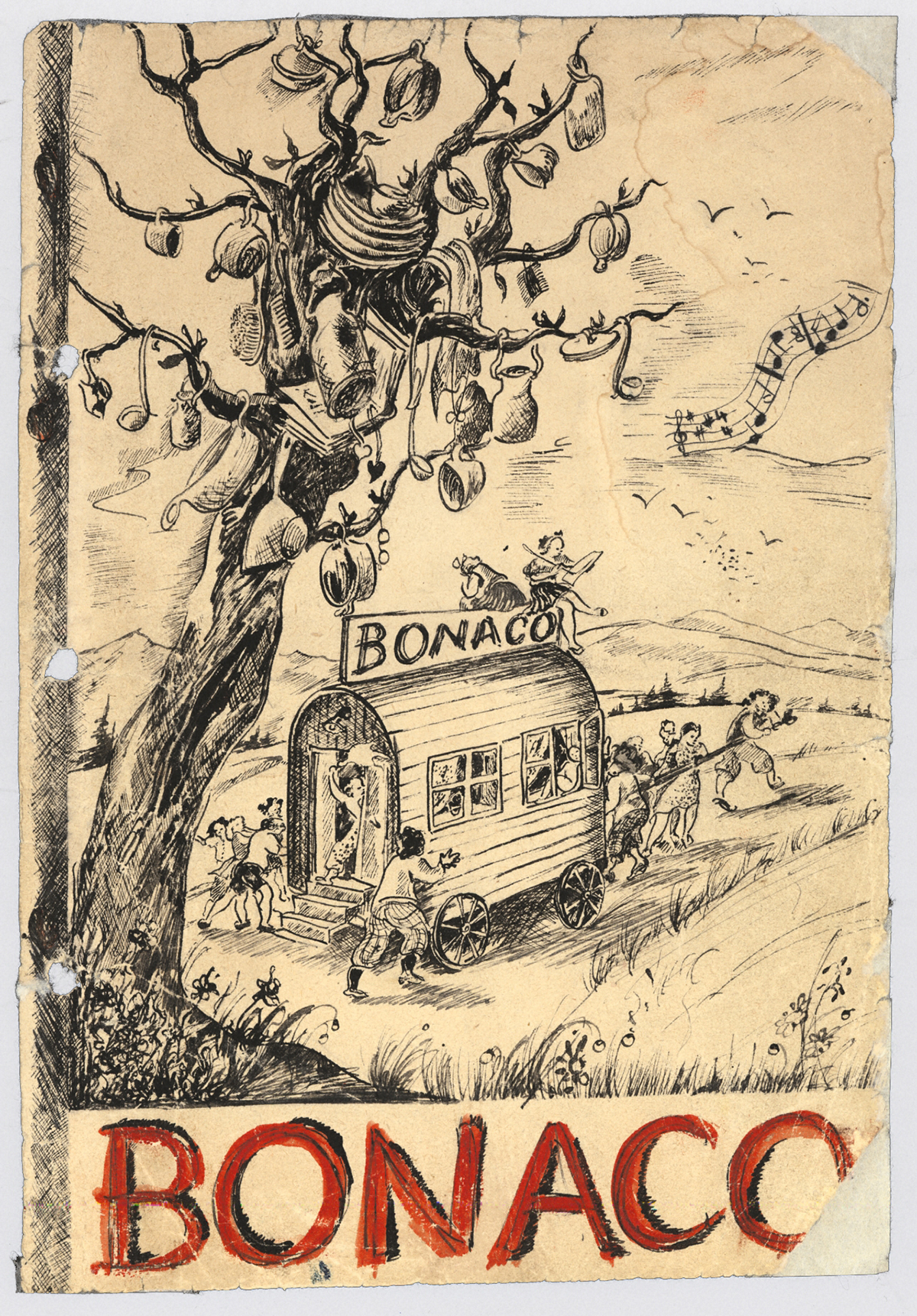 Illustrated cover for a Bonaco issue. Children pull a large covered wagon past a tree where pottery hangs from the branches