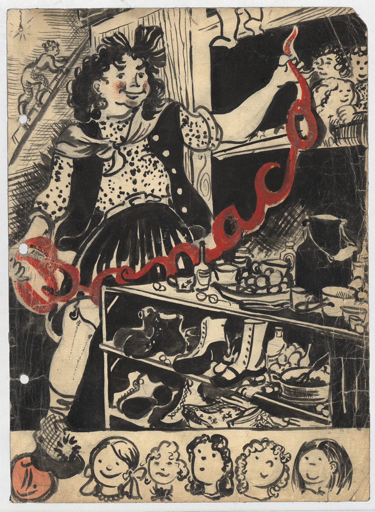 Cover of a Bonaco zine, featuring an ink illustration of a girl surrounded by shoes, food, and dolls