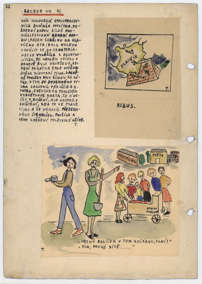 interior zine page with a drawn map of France and a group of girls surrounding a pram