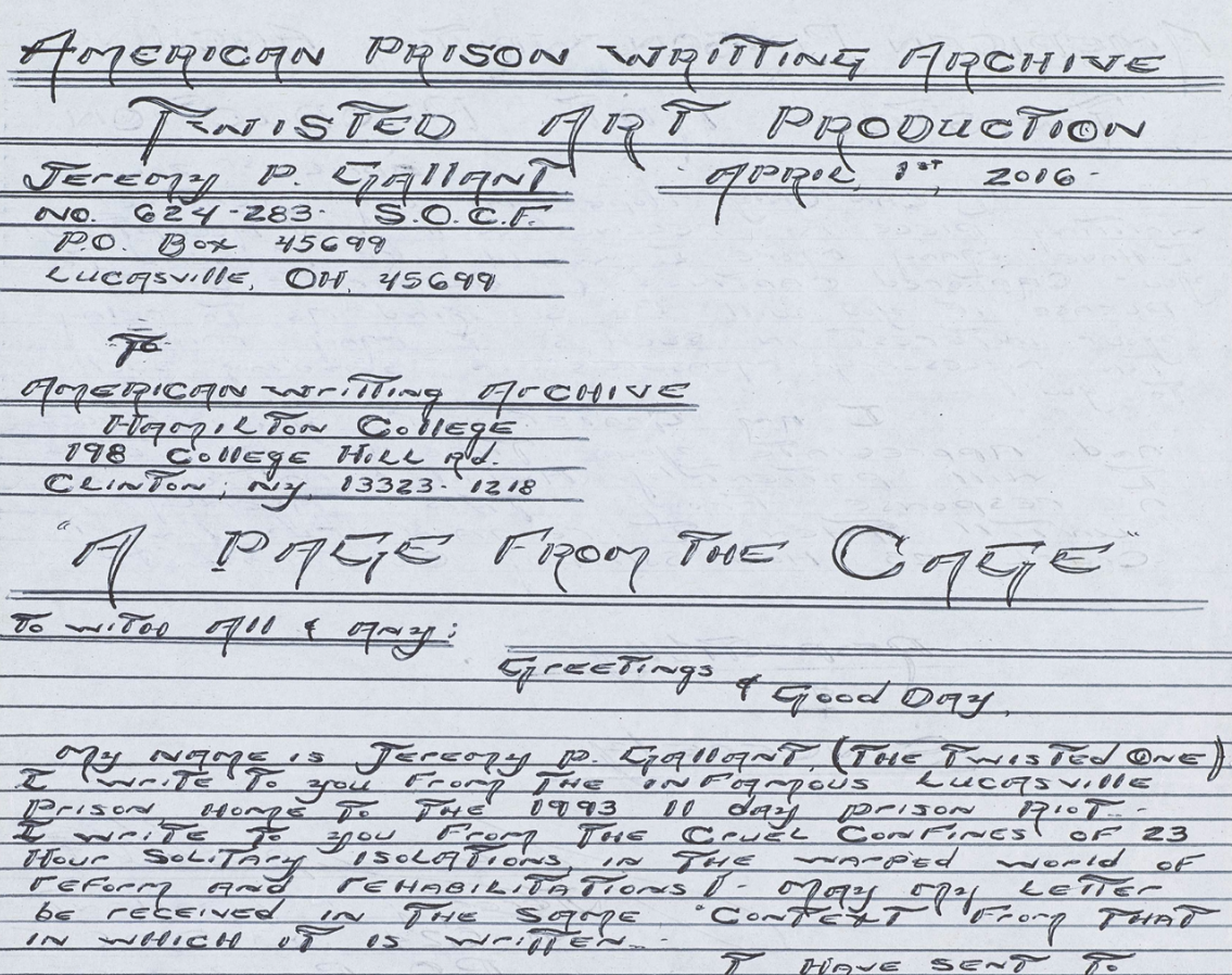 An excerpt from Jeremy P. Gallant's prison writing.