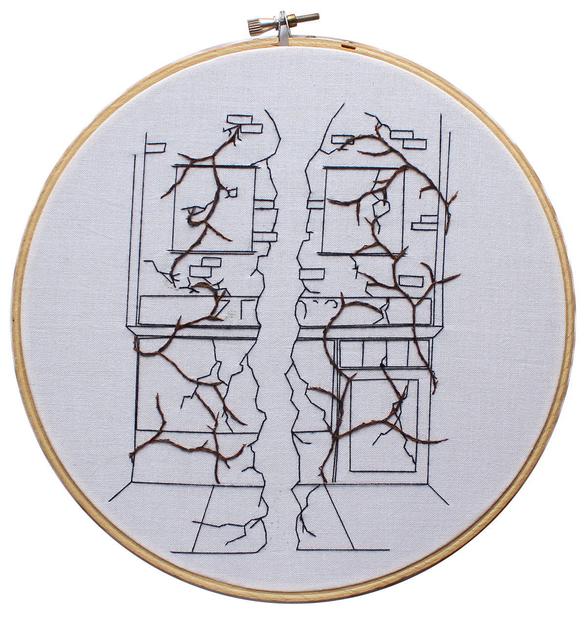 Embroidery of a restaurant's exterior cracked in half with vines growing everywhere.