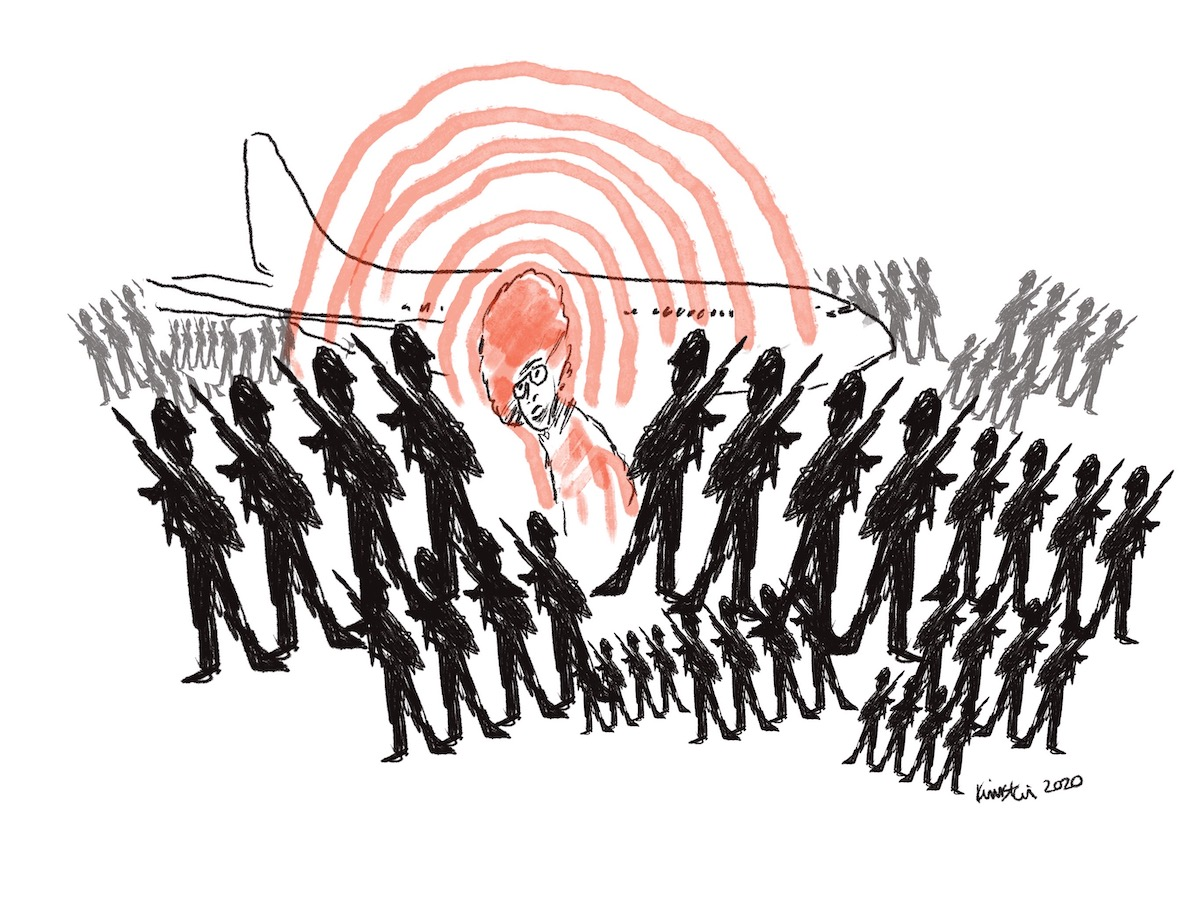 Illustration of Angela Davis standing in front of an airplane surrounded by armed soldiers