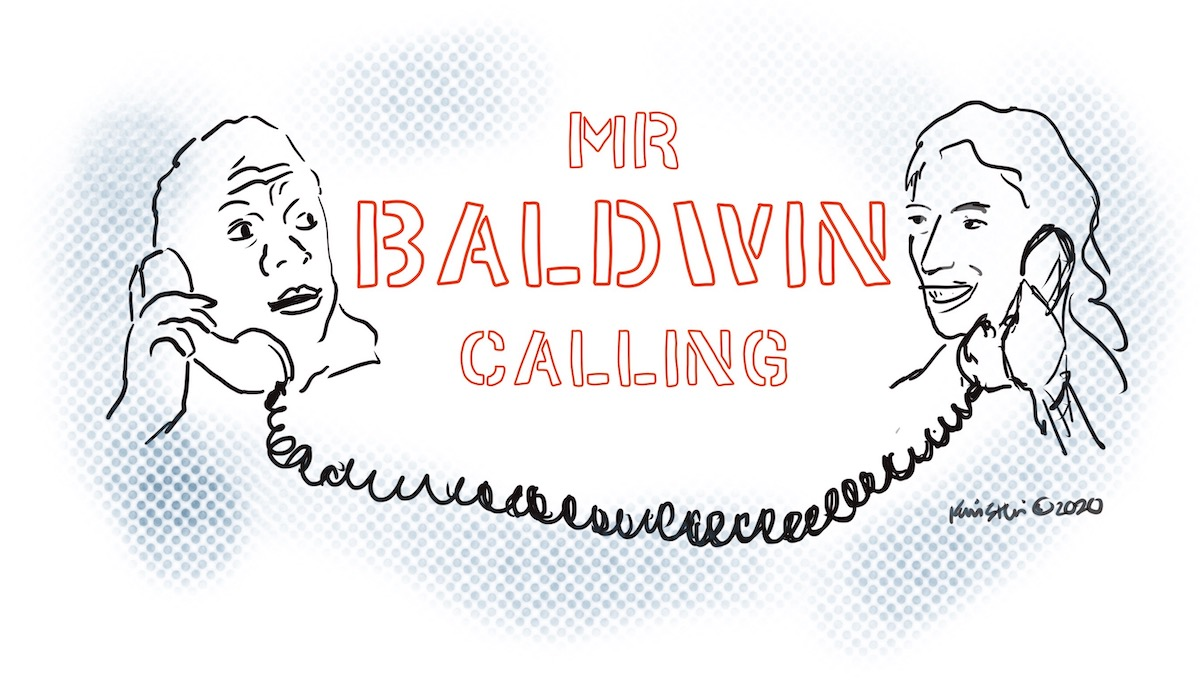 """Illustration of James Baldin and Bettina Aptheker's heads connected by a telephone cord. Text in the center reads """"Mr. Baldwin calling."""""""