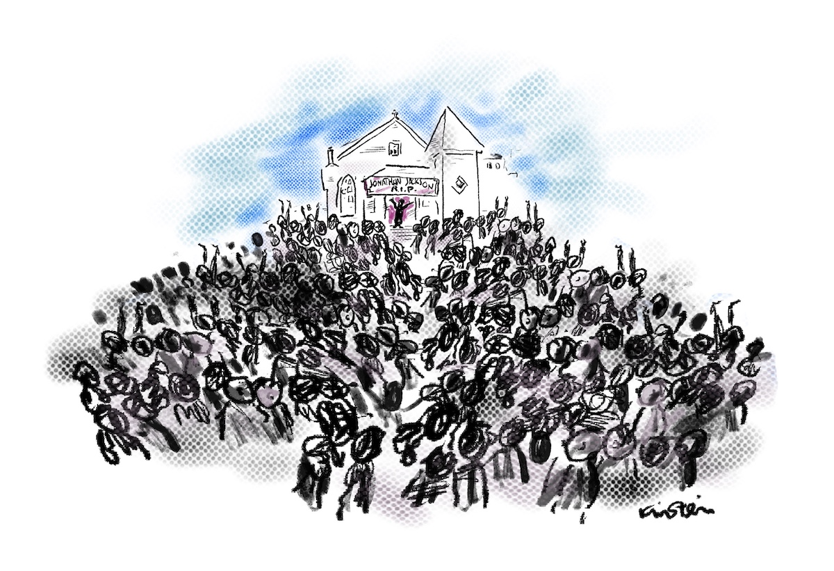 """Illustration of crowds of people gathered outside of a church. A banner reads """"Johnathon Jackson R.I.P."""""""