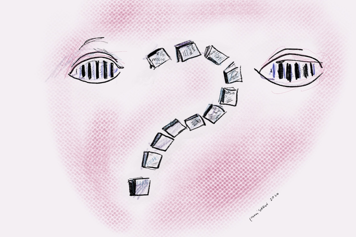 Illustration of two eyes with prison bars. Between them floats a question mark made from books