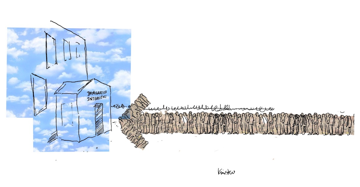 """A long line of people forming an arrow lead to a building with a sign that reads, """"Immigration Interviews."""""""