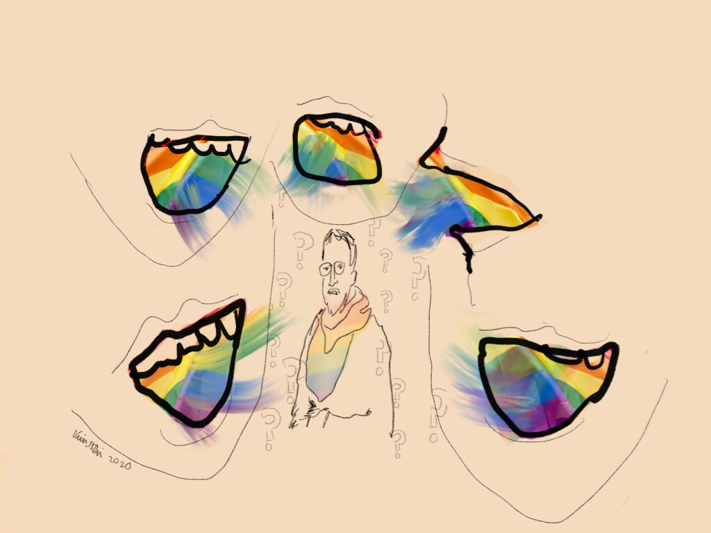 A man wearing a rainbow scarf is surrounded by mouths with rainbows coming out of them.
