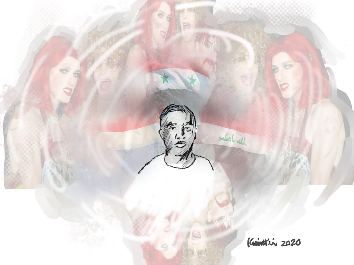 portrait of a young refugee in the foreground with three flags behind him and images of trans women floating in the background.