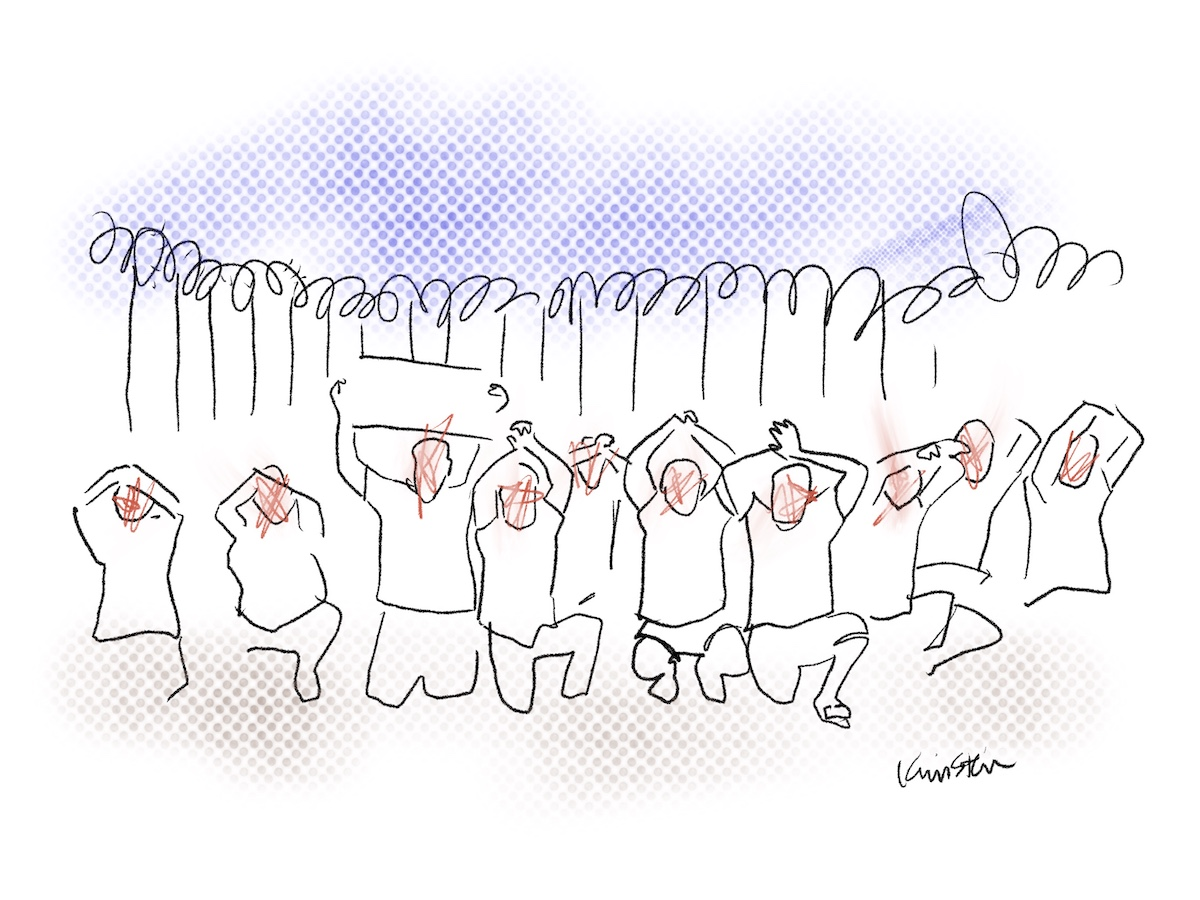 a group of people kneel with their hands in the air in front of a barbed wire fence. Their blank faces are scratched out with red.