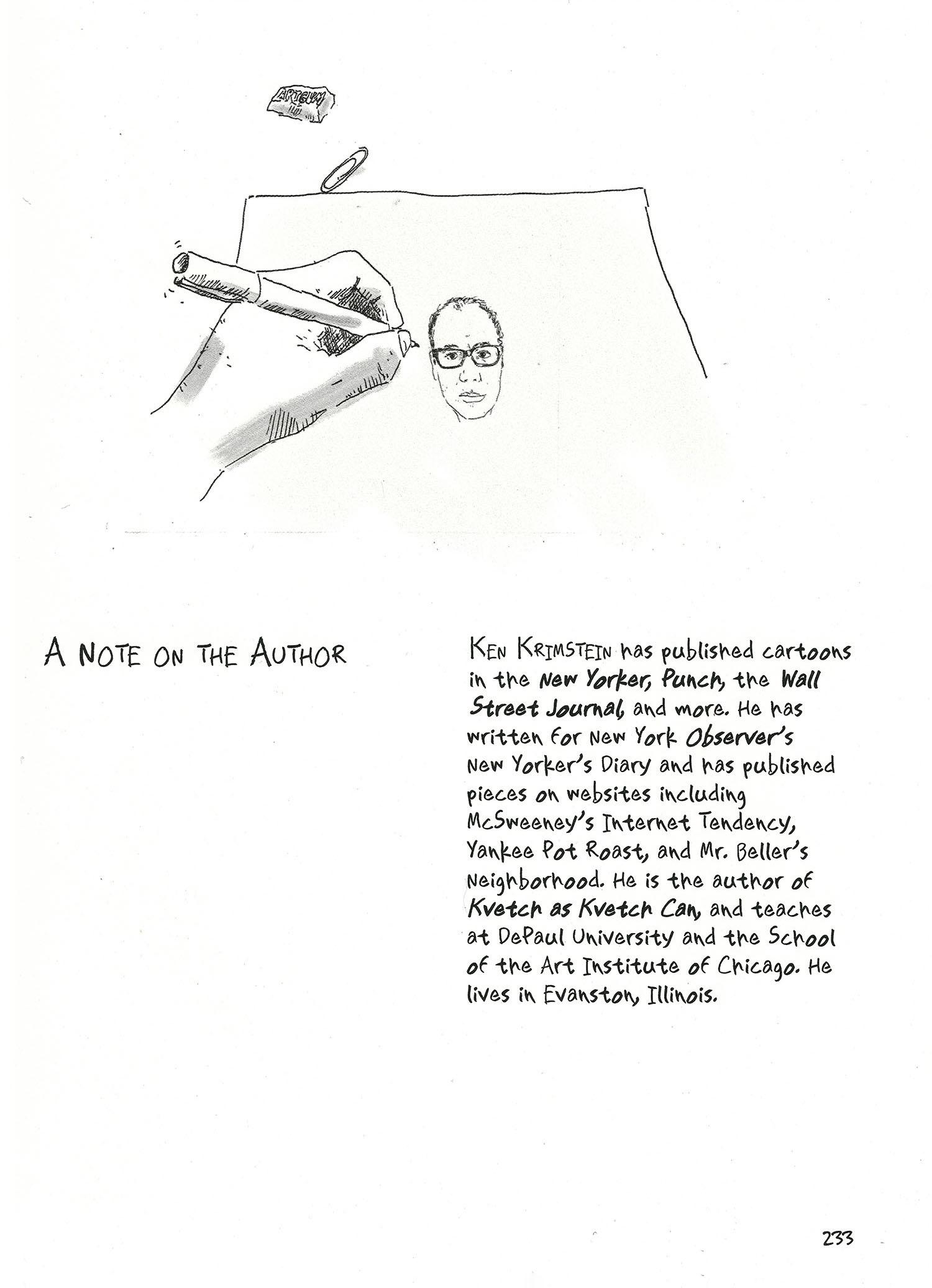 A hand draws a portrait of Ken Krimstein. His bio appears below the drawing.