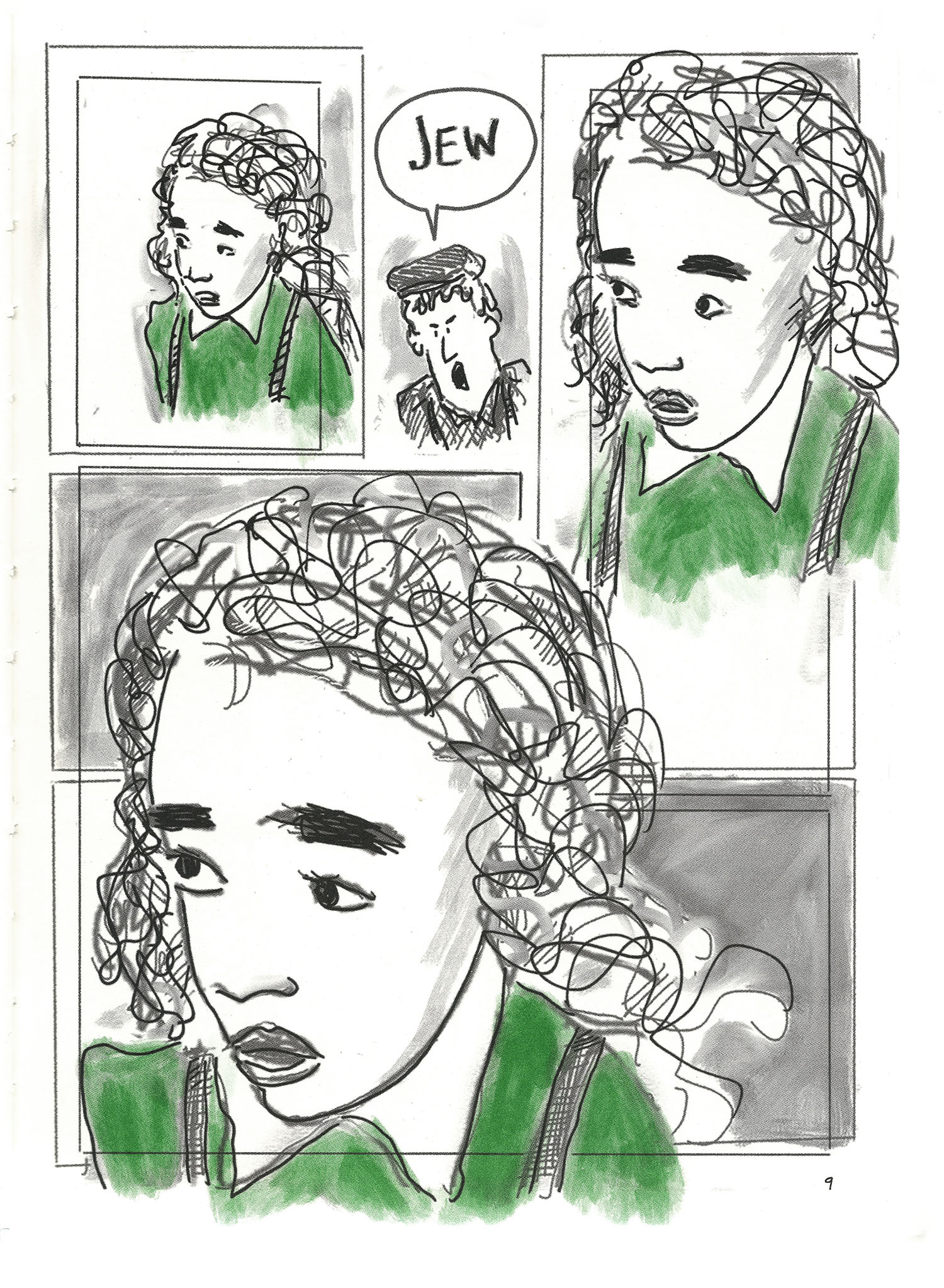"""Three repetitions of a portrait of Arendt when she was young, interrupted by a man saying """"Jew."""""""