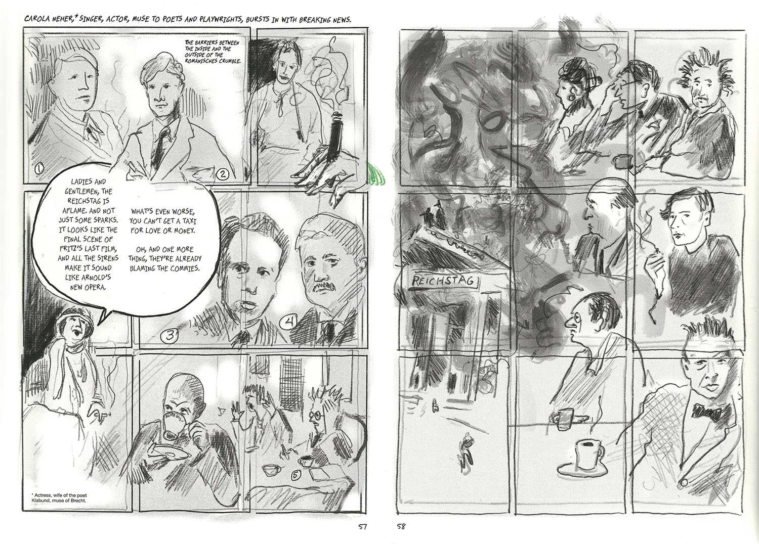 Two page comic spread of Berlin's Cafe Romanisches.
