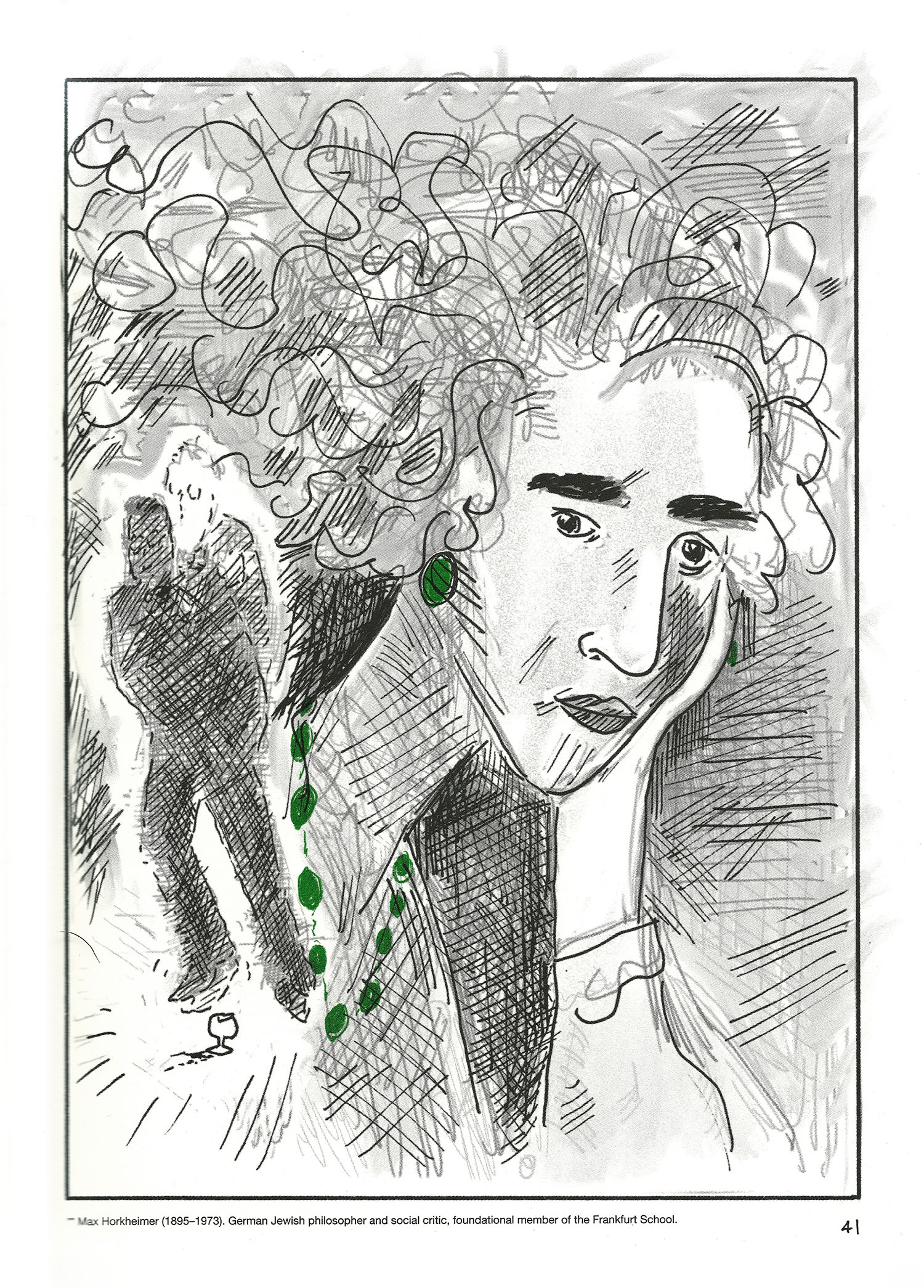Portrait of Arendt wearing green jewellry, with two shadowed men superimposed on the left.