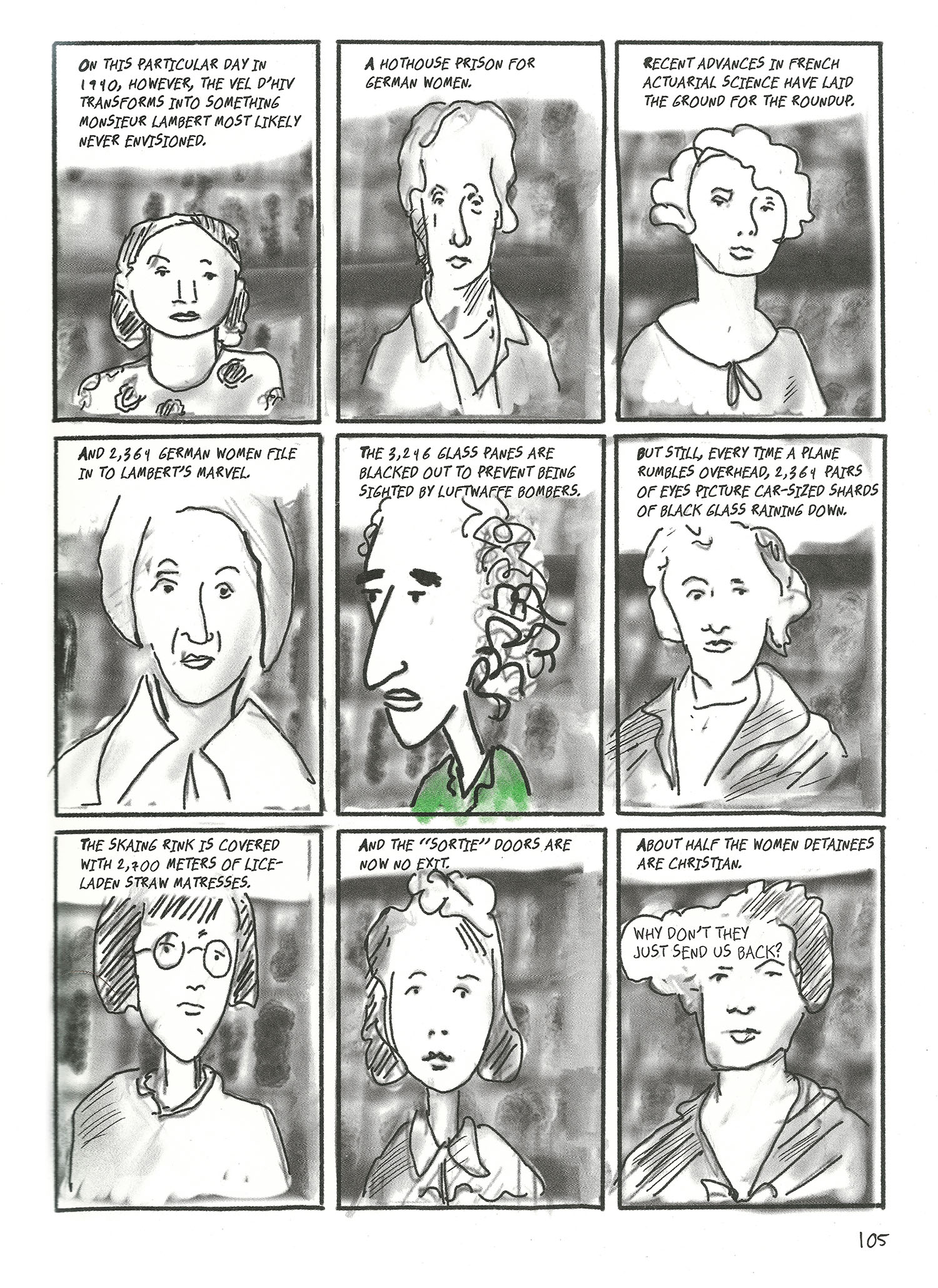 Quick portraits of nine German women in comic panels, with Arendt in the center panel.