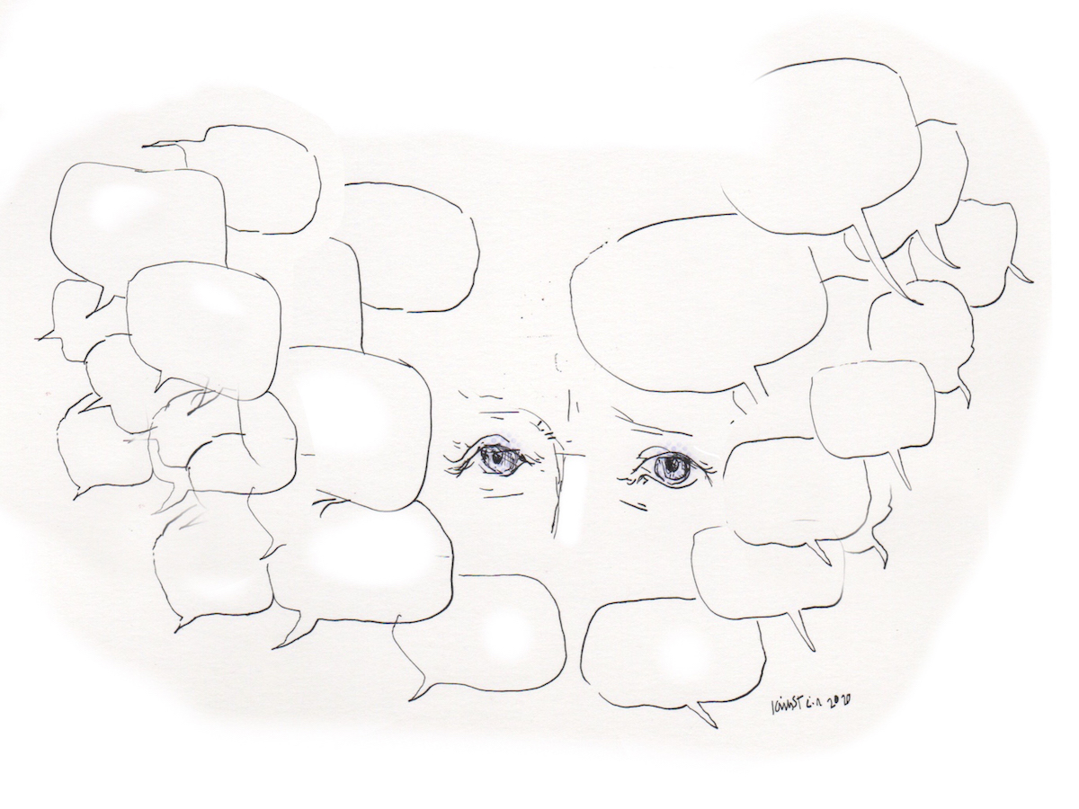 Worried eyes surrounded by speech bubbles