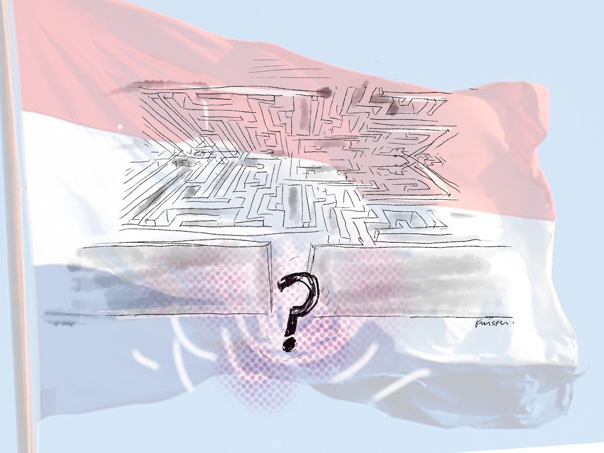 An illustration of a labyrinth superimposed over a Dutch flag