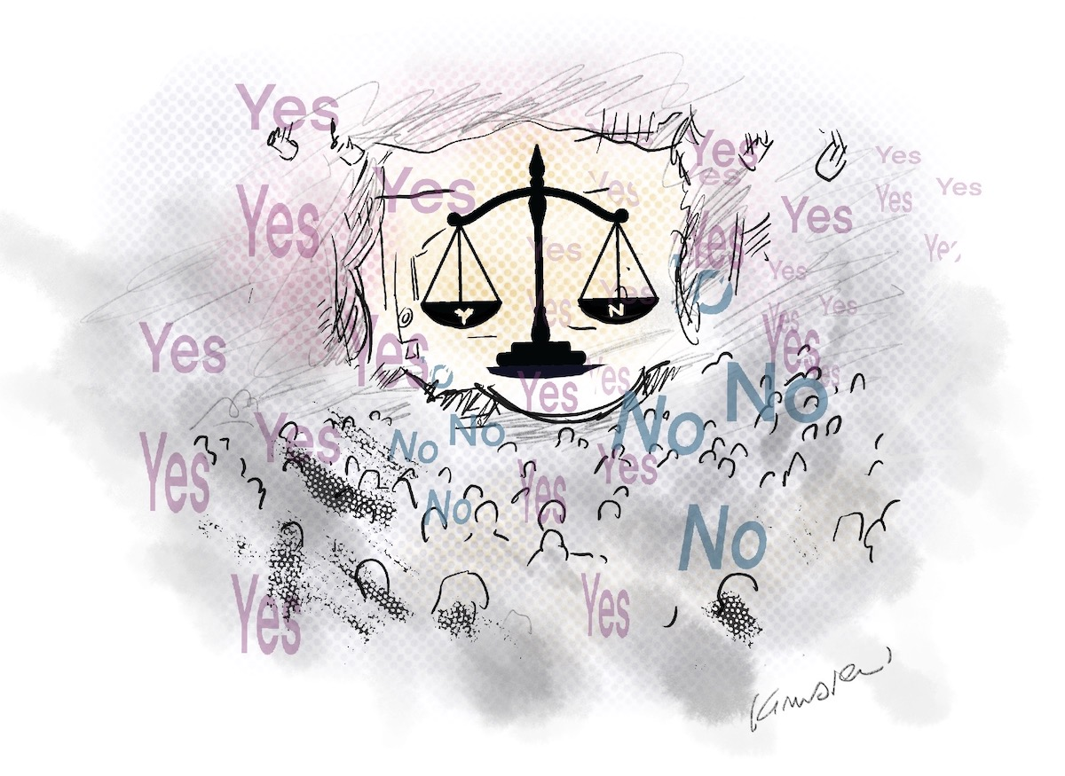 """The scales of justice with Y and N on each side. A crowd sits around it and the words """"yes"""" and """"no"""" float over their heads."""