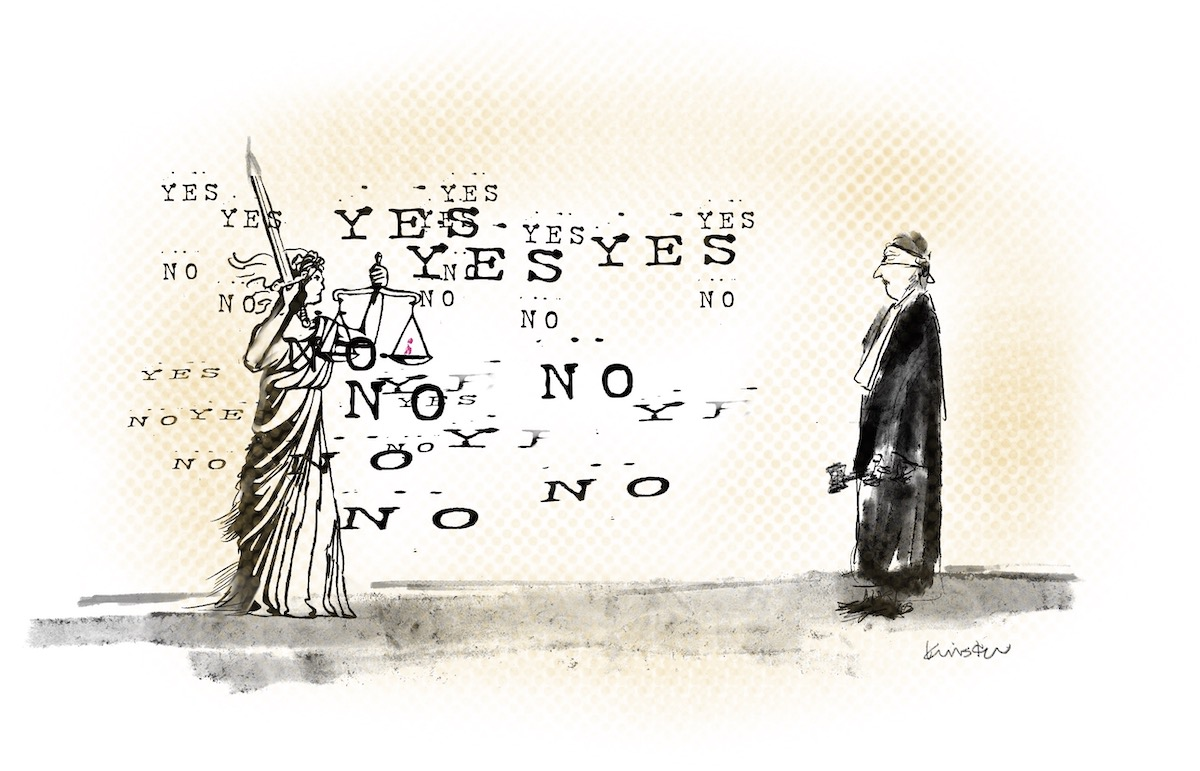"""A blindfolded judge stands facing Lady justice who is not blindfolded. The words """"yes"""" and """"no"""" circle her."""