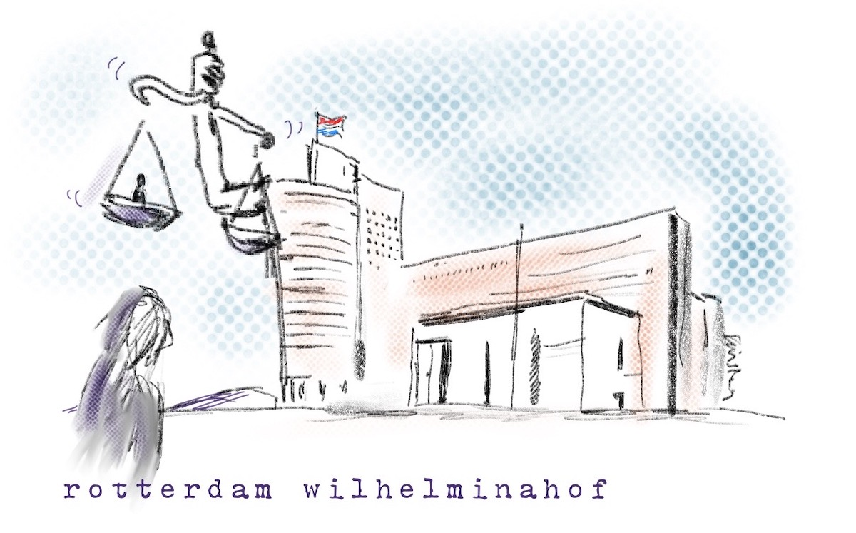 Illustration of the Wilhelminahof building holding the scales of justice
