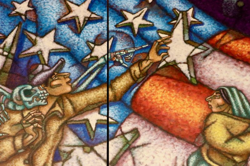 mural of man reaching for a star with a skeleton behind him
